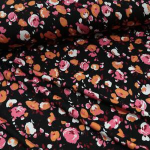 2m leichter Designer Jersey Baumwolle Stoff sommerliche Blumen bunt für Kleid
