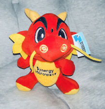 "8"" Synergy Microwave Dragon Plush Mascot Red Yellow Chinese Promo Rare Toy"