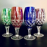 Ajka Hungary Arabella Cut Crystal Goblet/Glass Stemware Set of 4 Multi Color