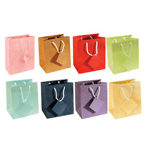 """Assorted Multi Color Pastel Gift Tote Bag Rope Handle 10 Pack 3"""" x 2"""" x 3.5"""""""