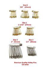 70 x Safety Pins - High Quality Kraft Pins Silver Golden Size 0 1 2 3