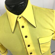 Vtg 60 70's Men Knit Yellow Gold HiPpIe DiScO MoD Surfer Polo Shirt Slim Skinny
