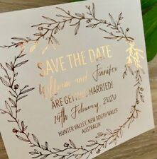 Rose Gold Foil Save The Date Invitation, Wedding Invitation SAMPLE, Rustic