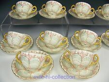 COALPORT ENGLAND TIFFANY & CO SEASHELL SHELLS BOUILLON CUPS & SAUCERS SET OF 10