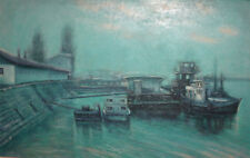 1983 Impressionist cityscape seascape oil painting signed