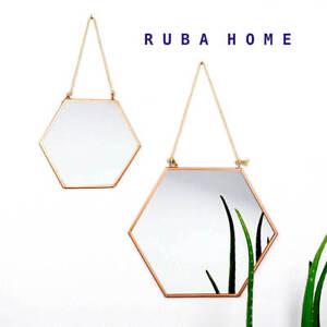 Copper Hexagon Wall Mirror Geometric Modern Vintage Frame Hanging Rope 30CM