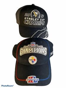 Pittsburgh Steelers Penguins 2005 and 2017 Champions Caps Hats NWOT Reebok
