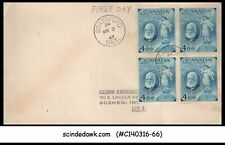 Canada - 1947 Birth Centenary Of Alexander Graham Bell - Blk Of 4 - Fdc