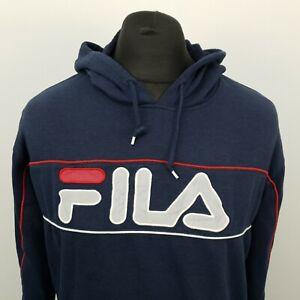 FILA Womens Vintage Hoodie Jumper Sweatshirt LOOSE BAGGY Pullover SMALL Blue Hoo
