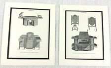 1899 Antique Set of Prints Commode Library Table Firescreen Sheraton Furniture