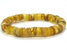 AMBER Bracelet Natural BALTIC AMBER Yellow Honey Butter Beads Elastic 10,7g 8745