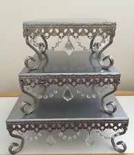 Opulent Treasures Crystal Antique Silver 3 Tier Cake Dessert Cupcake Stands