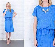 Vintage 80s Blue Peplum Dress Floral print Slouchy Draped Medium M