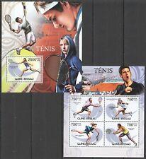 BC503 2012 GUINEA-BISSAU SPORT TENNIS STARS FEDERER DJOKOVIC NADAL BL+KB MNH