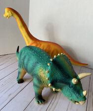 Lot Of 2 Pvc Dinosaurs ~ Brontosaurus and Triceratops Both 21� Long