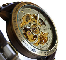45mm BRONZE AUTOMATIC Skeleton TACHYMETER Vintage Styled Wrist Watch Brass Studs
