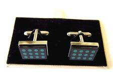 J-1448949 New Burberry Forest Green Dots Silver Rectangle Square Cufflinks