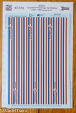 Microscale Decal HO #87-519 Amtrak® Passenger Car Phase III Superliner - Stripes