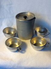 Vintage Aluminum Camping Kettle and Four Aluminum Cups Very Cool Vintage Camping