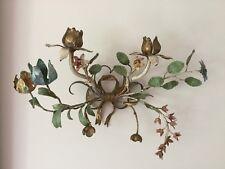 Pair Of Antique Tole, Floral Metal Sconce