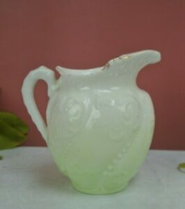 Vintage Green and White Embossed Little Creamer