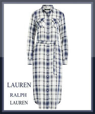 Ralph Lauren Belted Checked Plaid Midi Shirt Dress Navy White size 12 UK 8 US