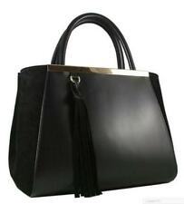 LUXURIOUS BLACK OLD LONDON LEATHER AND SUEDE HANDBAG TOTE PURSE