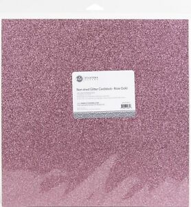 """ETC Papers Non-Shed Glitter Cardstock 12""""X12"""" 10/Pkg-Rose Gold"""
