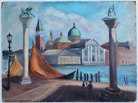Original Mid Century 1952 Eleanor T. Jordan San Marco Italy Oil Painting Listed