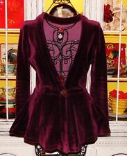 Betsey Johnson VINTAGE Jacket VELVET Coat PUNK FACE Fit Flare PEPLUM M L 8 10 12