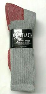 Men's Acrylic & Merino Wool Gray w/ Red Bottom Hunting/ Hiking Boot Sock SZ13-15