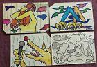 Mail Art 4 CornPuff hand drawn postcards 1985 David Greenberger Corn Puff