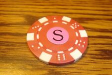 """ S "" Monogram Dice design Poker Chip,Golf Ball Marker,Card Guard Red/White"