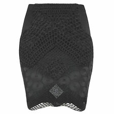 AUGUSTIN TEBOUL $785 black crochet lace hand knit wool fitted mini skirt 2/6 NEW