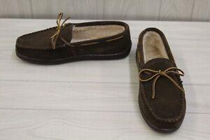 Minnetonka Pile Lined Hardsole Moccasin, Men's Size 13 W, Chocolate Suede