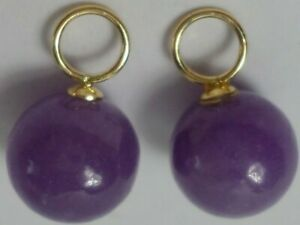 14K Gold Pair Round 8mm Purple Lavender Jade Interchangeable Earrings Charms NEW