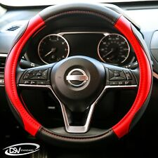 DSV Standard | Black-Red Leather Heated Car Steering Wheel Cover |15 Inches