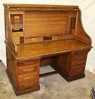 Antique Oak 60″ Wide Roll Top Desk with Double Roll  – The American Case Desk –