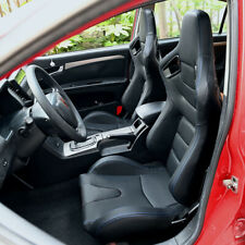 2pcs Universal Reclinable Bucket Seats Black Leather Sport Racing Seat Withsliders Fits Toyota Celica