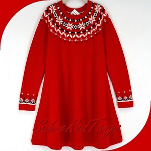 NWT HANNA ANDERSSON SNOW SNÖ HAPPY FAIR ISLE SWEATER DRESS RED 110 5