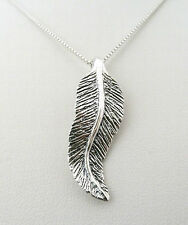 Handmade in Solid 925 Sterling Silver Oxidized Feather Pendant With Silver Chain