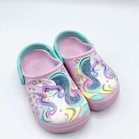Crocs Fun Lab Child Size 10 Sparkle Pink Glitter Unicorn Clogs Shoes Strap Girls