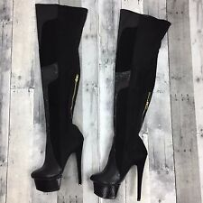London Trash Women's Winona Boots Size 9 Black Thigh High Heel Platform