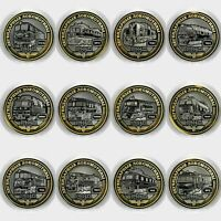 "set of 12 coins 10 rubles ""Railway trains of Russia"" legendary locomotives unc."