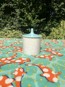 Vintage Poole Pottery Twintone Ice Green and Seagull lidded sugar bowl/jam pot