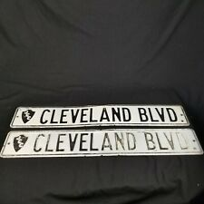 Vintage 2 JCC Cleveland BLVD Street Sign Pair Black & White Man Cave Decor 36""