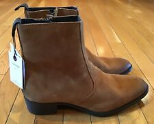 NWT New ZARA Men's Size 40 Tan Brown Leather Sporty Ankle BootsCasual US 7