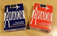 Aviator Poker Size Playing Cards - Set of 2 BRAND NEW DECKS - One Red, One Blue