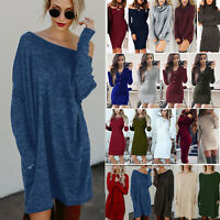 femmes pull manches longues pull tricot long haut fête Mini Robe moulante