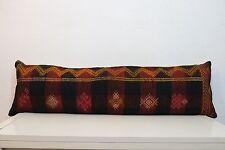 12'' x 40'' Bohemian Bedding Kilim Pillow Cover,Handmade Hippie Bed Pillow Boho